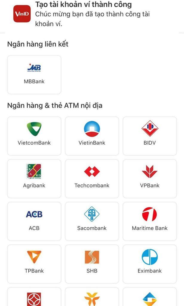 Liên kết ngân hàng với ví điện tử