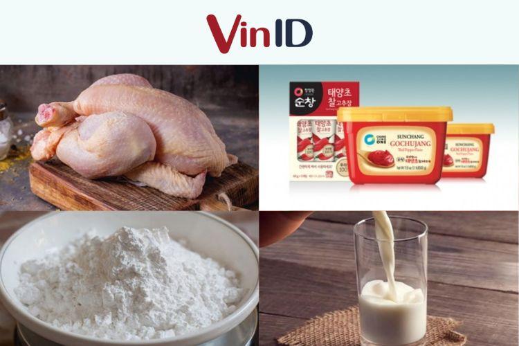Nguyên liệu chế biến món gà cay Hàn Quốc