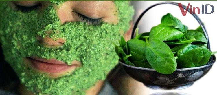 Đắp mặt nạ bằng rau mồng tơi
