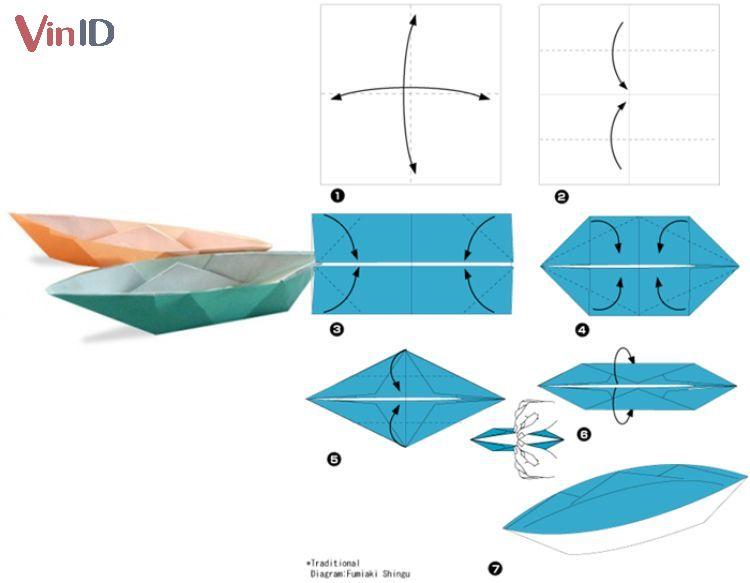 Cách gấp thuyền giấy.